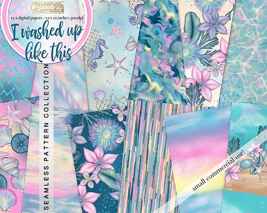 I washed up like this- mermaid abstract and floral seamless pattern collection