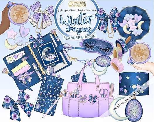 Winter dragons planner clipart collection