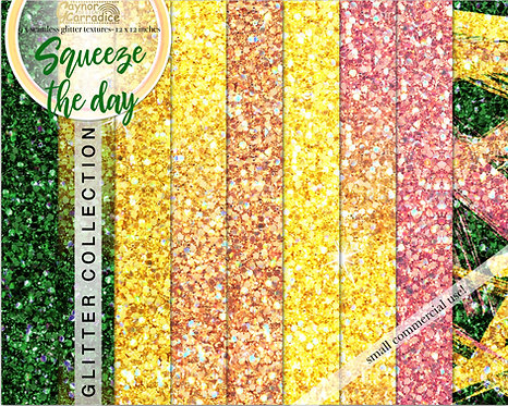 Squeeze the day - lemon glitter backgrounds collection