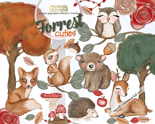Autumn Forrest Animals Clipart Collection