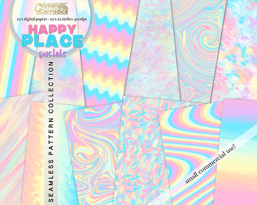 Happy place pastel rainbow digital papers