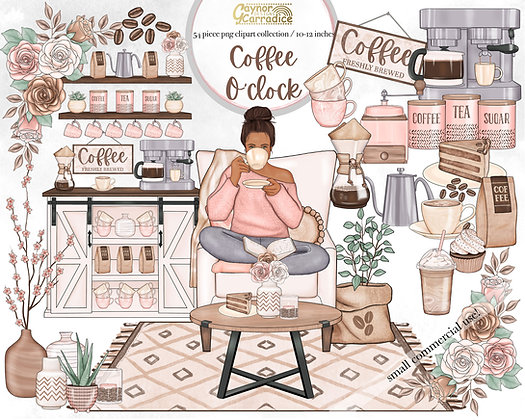Coffee O Clock watercolor clipart