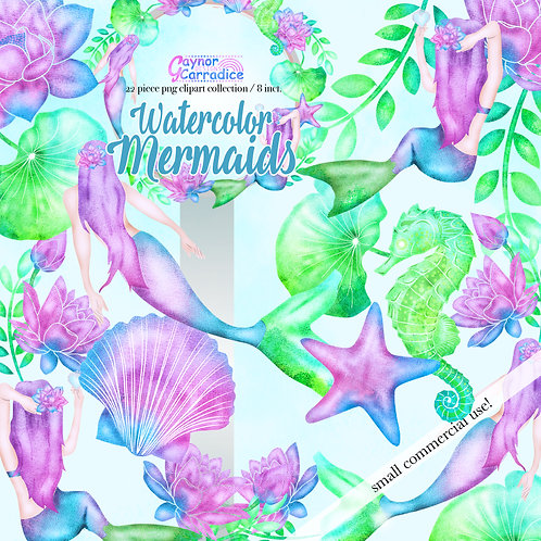 Watercolor Mermaid Clipart Fashion Collection