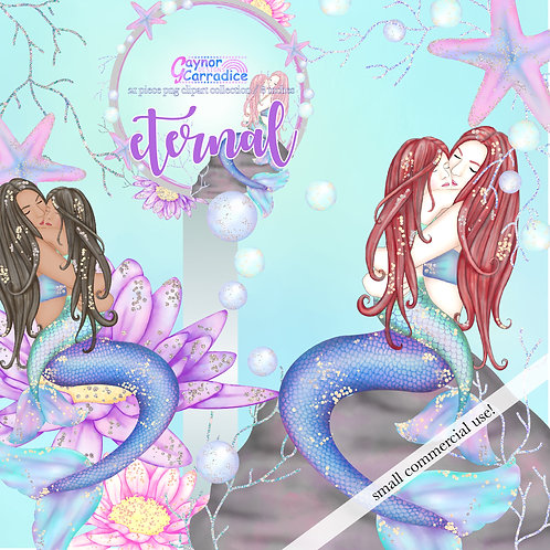 'Eternal' Mothers Day Mermaid Clipart, Girl version