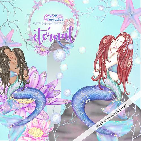 'Eternal' Mothers Day Mermaid Clipart, Girl version