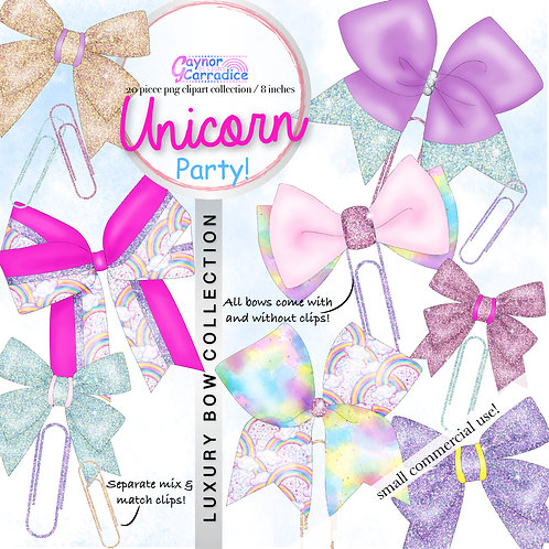 Unicorn Party Bow Clip collection