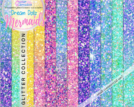 Mermaid dolls glitter digital paper collection