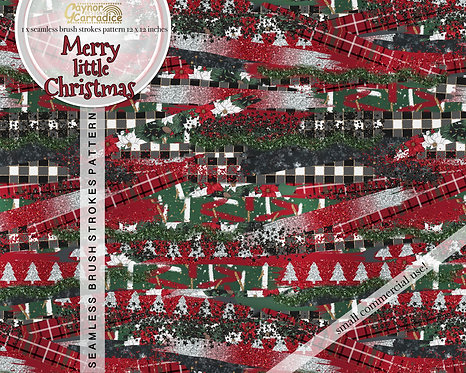 Merry little Christmas brush strokes pattern