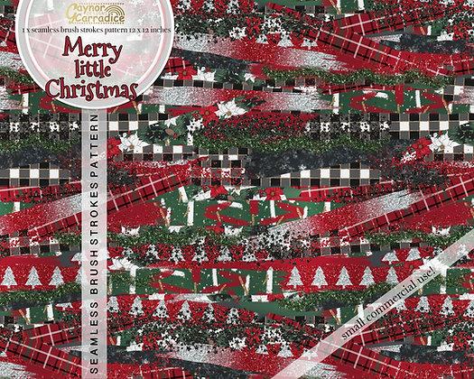 Merry little Christmas brush strokes pattern
