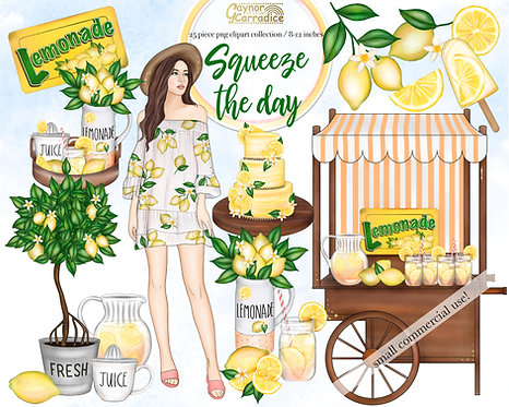 Squeeze the day - Lemon fashion clipart collection