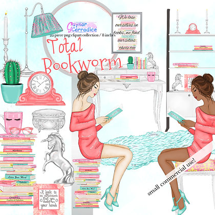 Total Bookworm, Girl Boss Clipart Collection