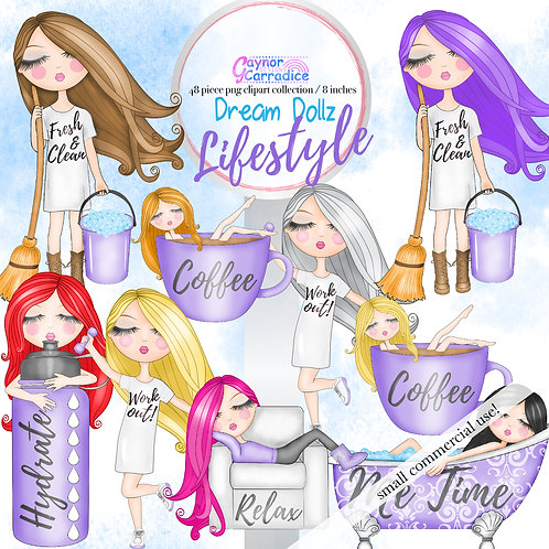 Dream Dollz, cute girl clipart collection, planner icons