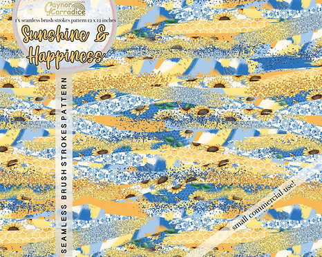 Sunshine and Hapiness Brush Stroke Pattern
