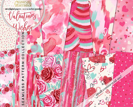 Valentines wishes seamless papers