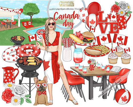 Canada Day Watercolor Clipart