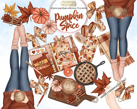 Pumpkin Spice planner clipart collection