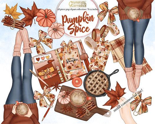 Pumpkin Spice planner clipart collection