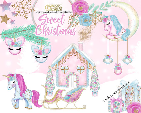 Sweet Christmas - Christmas Unicorn clipart collection