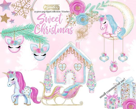 Sweet Christmas - Christmas Unicorn clipart collection