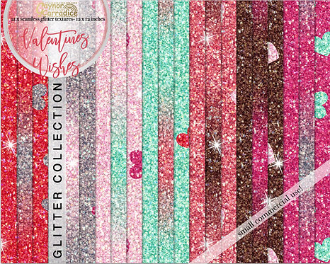 Valentines wishes glitter backgrounds