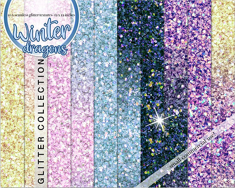 Winter dragon glitter backgrounds collection