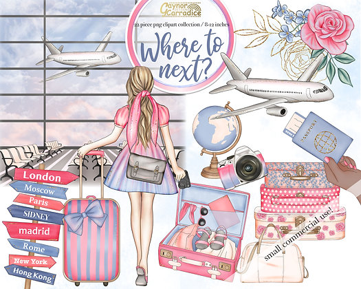 Where to next? - Travel fashion clipart collection