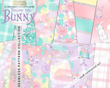 Follow the Bunny - easter seamless pattern collection