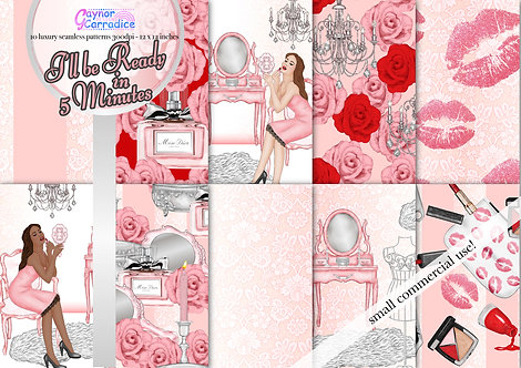 Beauty and Make-up fashion digital paper collection