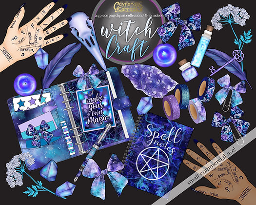 Witch Craft Halloween planner clipart collection