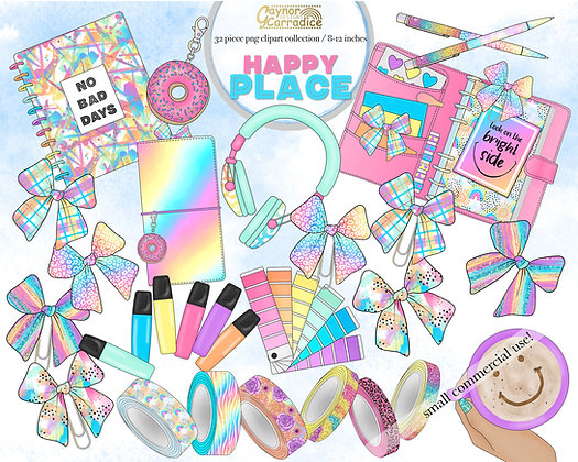 Happy place rainbow planner clipart