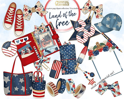 Land of the Free - independence day planner clipart collection