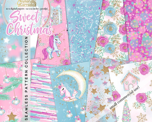 Christmas Unicorn Digital Paper Collection