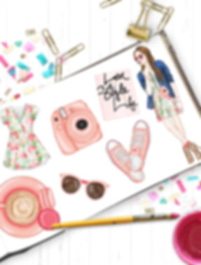 Fashion illustration clipart for planner stickers