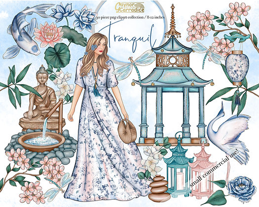 Tranquil garden watercolor clipart