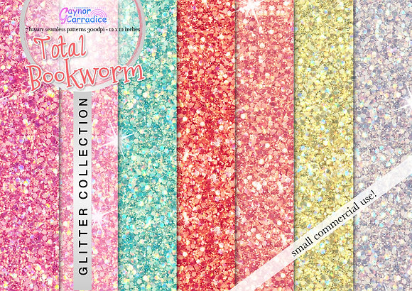 Total Bookworm glitter digital paper collection