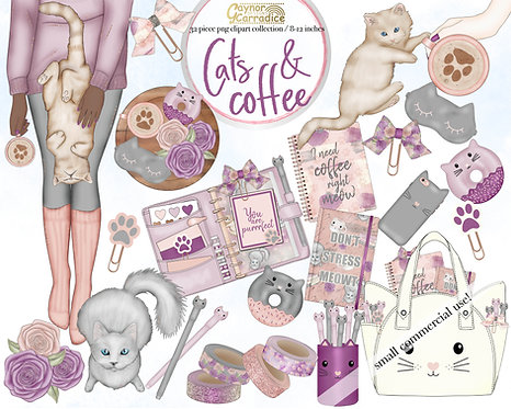 Cats and Coffee planner clipart collection