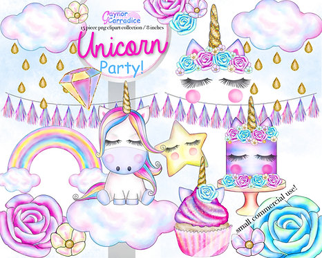 Unicorn Party Clipart Collection