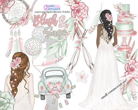 Blush and Sage wedding clipart collection