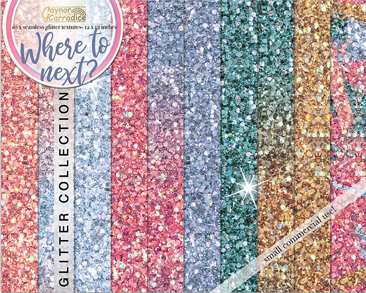 Where to next? - travel glitter backgrounds collection