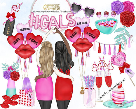 Gals - friends valentines clipart collection