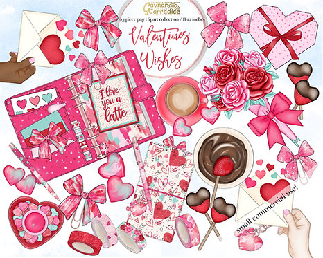 Valentines wishes planner clipart