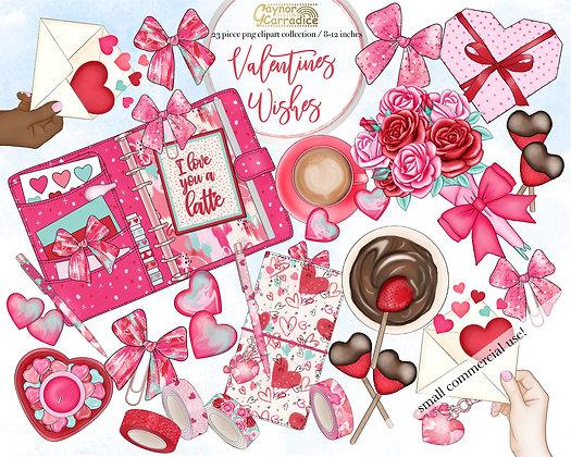 Valentines wishes planner clipart