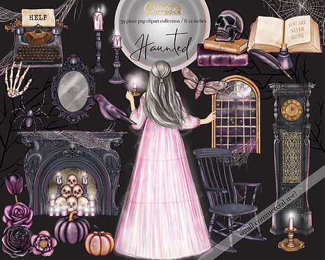 Haunted watercolor clipart