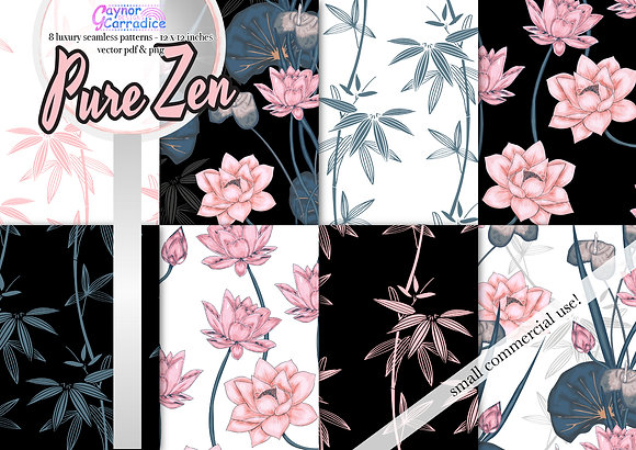 Pure Zen vector seamless pattern collection