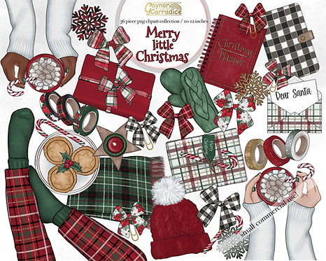 Merry little Christmas planner clipart