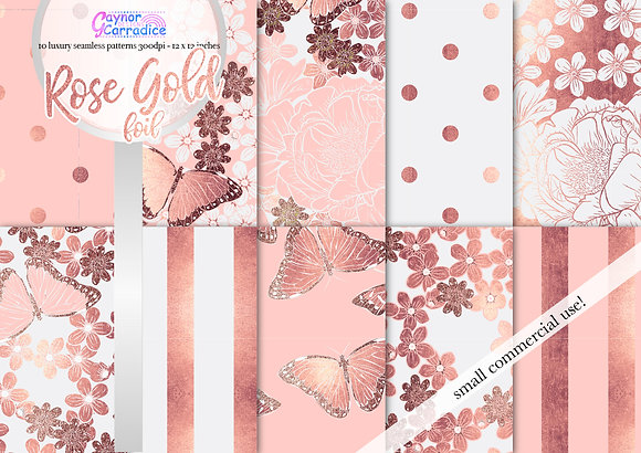Rose Gold & Blush digital paper collection