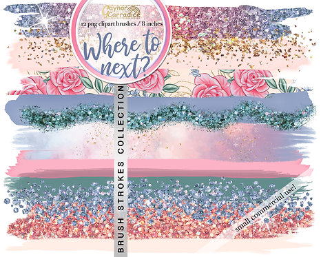 Where to next? -  travel brush strokes clipart collection