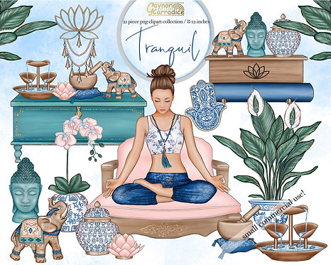 Tranquil yoga room clipart