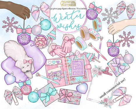 Winter Wishes planner clipart