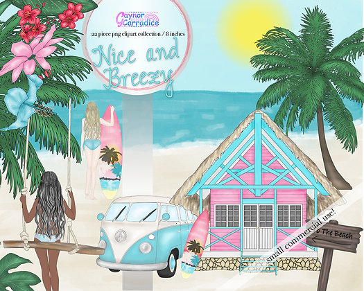 Surf Girl Clipart Collection